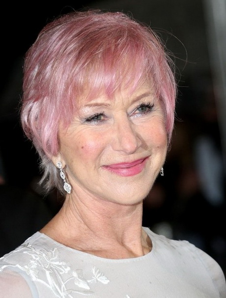 Helen Mirren Short Pink Haircut with Bangs for Women Over 70