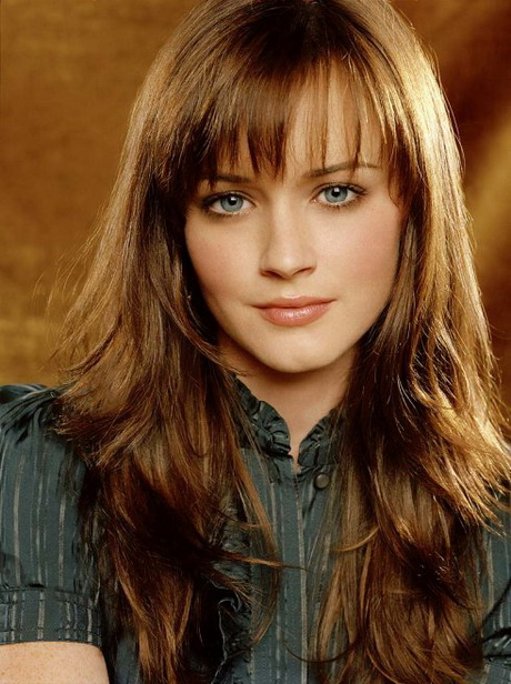 Long Brown Straight Style With Bangs And Side Part. Long Hair Haircuts  ...