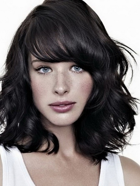 Medium length curly hairstyles with bangs