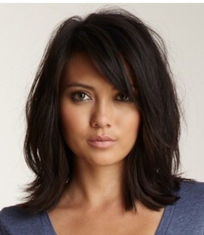 shoulder length hair with bangs