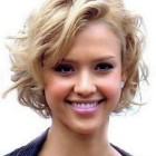 Short hairstyles for round faces and curly hair