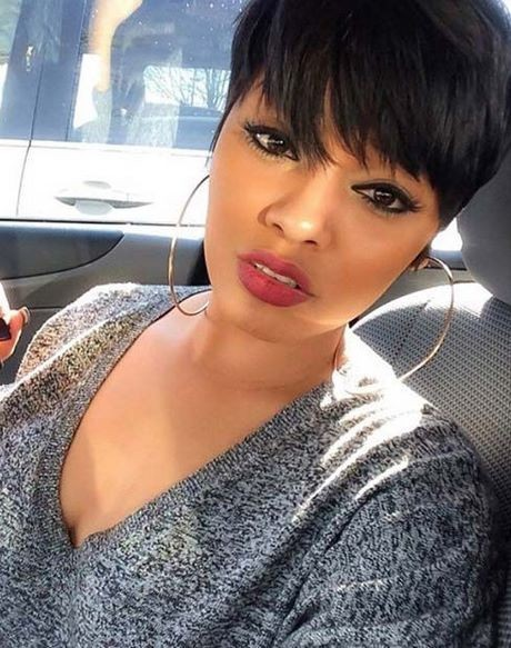 Short haircuts with bangs for black women