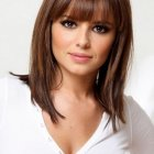 Middle length hair with bangs