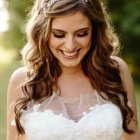 Hairstyle on wedding gown